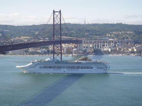 Lisbon Portugal 25Th Of April Bridge Boat