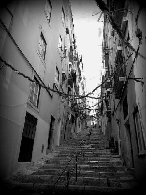 Lisbon City Stairs Steps