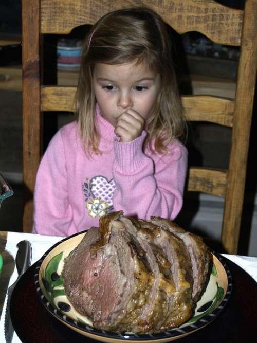 Little Girl Sad Roast Prime Rib Foot Person Kid