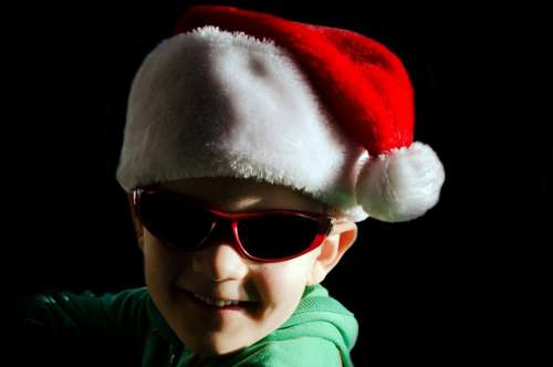 Little Santa Hat Red Glasses Child People Boy