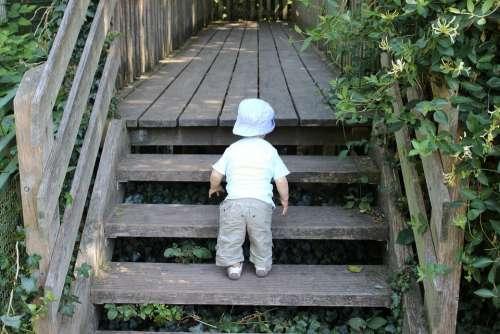 Little Explorers Little Boy Children Stairs