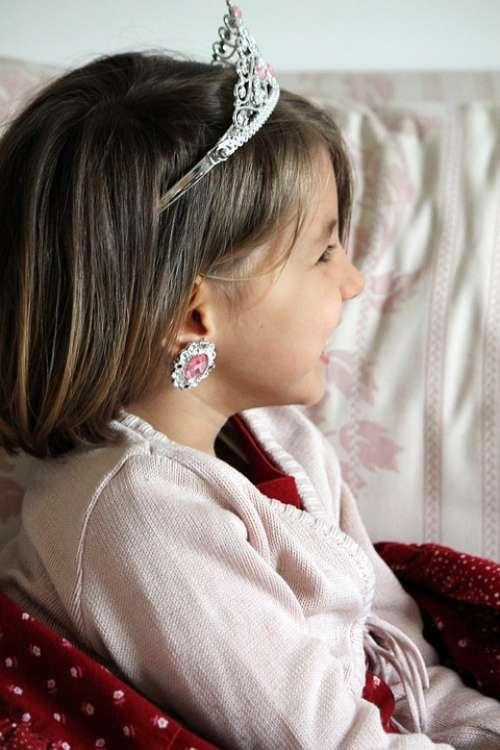 Little Girl Princess Profile Face Smile Laugh