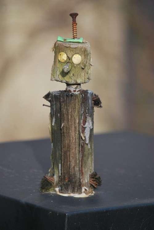 Little Guy Work Of Art Wood Pinoccio Screw Statue