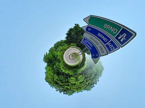 Little Planet Road Signs Street Signs Blue Sky