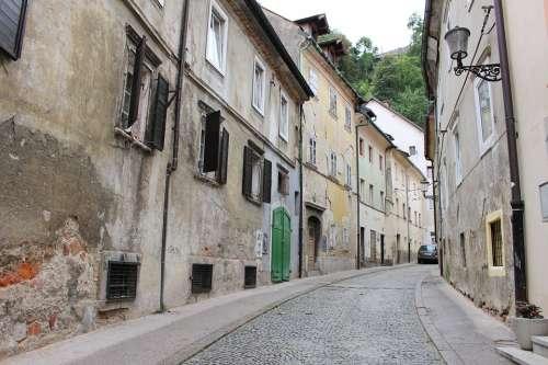 Ljubljana Alley Houses Abandoned Dilapidated