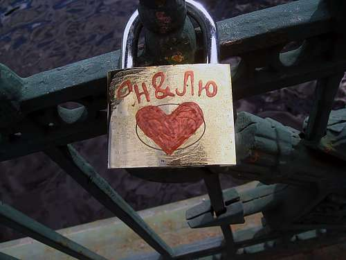 Lock Love Railing Bridge Peter Russia