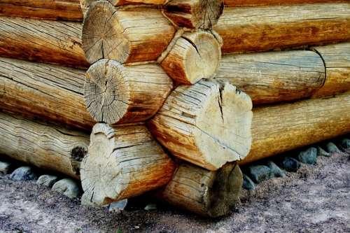 Log Cabin Corner Joins Logs Wood Cylindrical