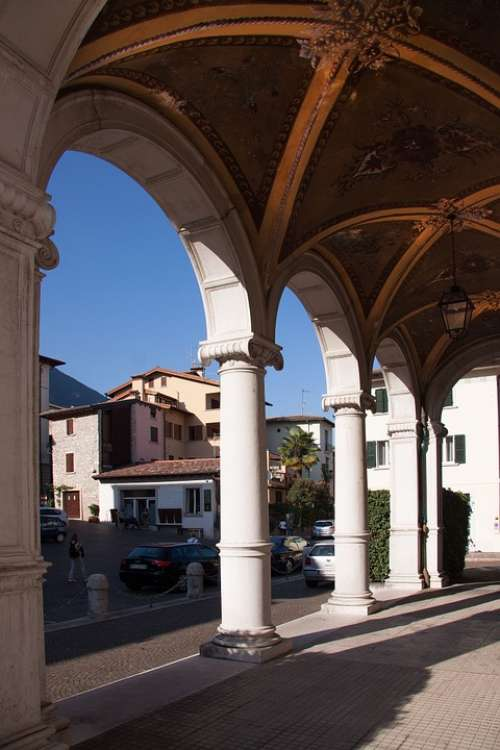 Loggia Villa Architecture Italy Cover Painting