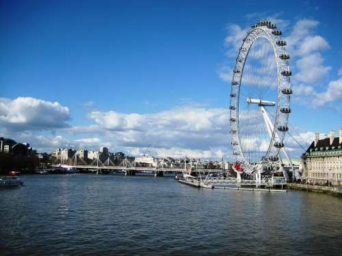 London Ferris Wheel London Eye City River Cities