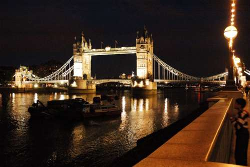 London The Waterfront Tower Bridge Night