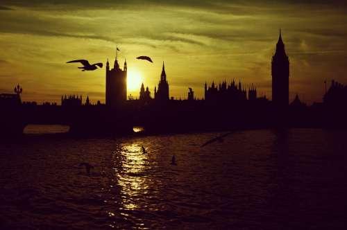 London Sunset London Bridge Silhouette Big Ben