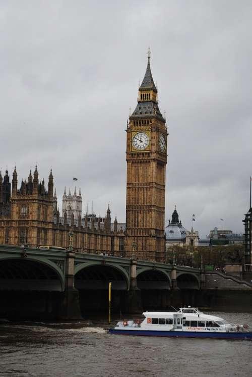 London Big Ben England Clock River