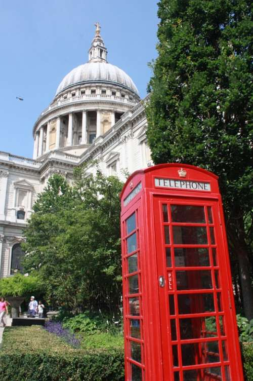 London Telephone Booth Red Cathedral England