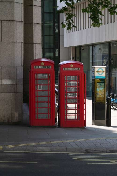 London Phone Booth Historically Red City England