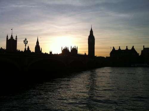 London Big Ben Evening Thames Sun Sunset Orange