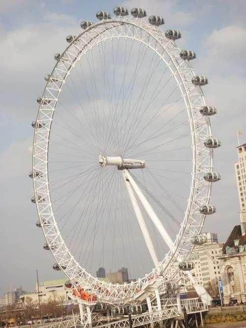 London Eye London United Kingdom Capital City Gold
