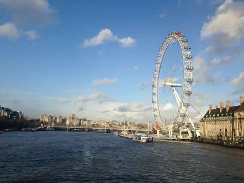 London Eye London Blue Sky Attraction Colorful
