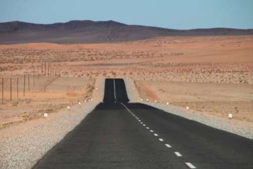 Loneliness Road Clouds Distance Horizon Namibia