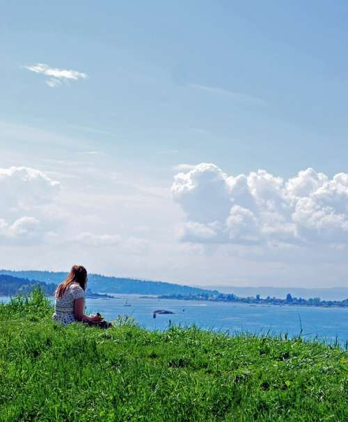 Loneliness Girl Clouds Sea Horizon Sky