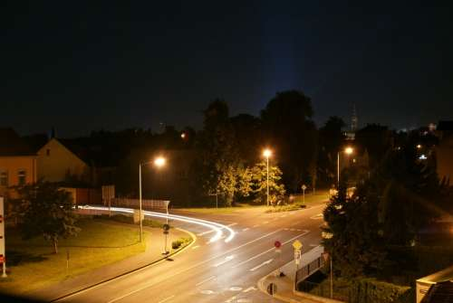 Long Exposure Road Light Traffic Car Headlights