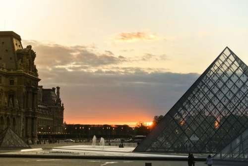 Louvre Pyramid Paris Architecture Tourism Landmark