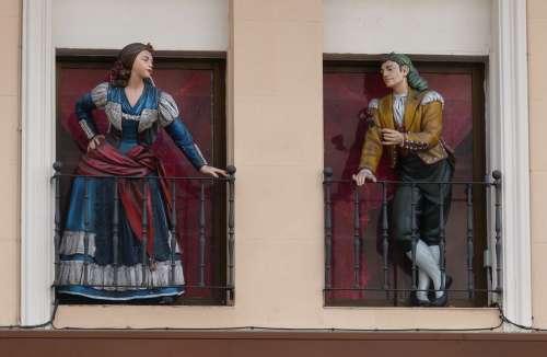 Madrid Spain Capital Window Figure Statue Fashion