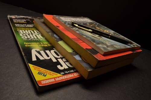 Magazines Books Pen Pile
