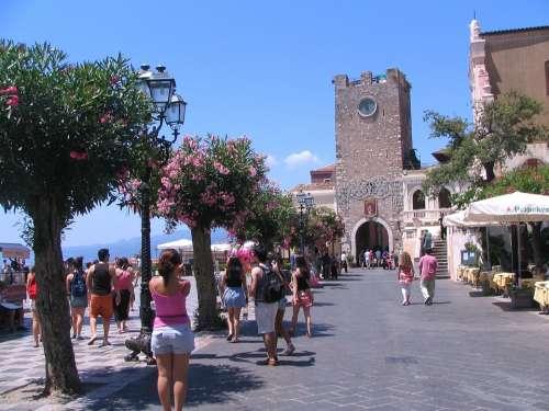 Main Plaza Taormina Sicily Italy