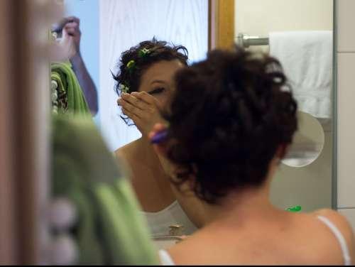 Make Up Cosmetics Makeup Brush Applying Mascara