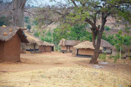 Malawi Africa Village Huts Homes Thatched Mud