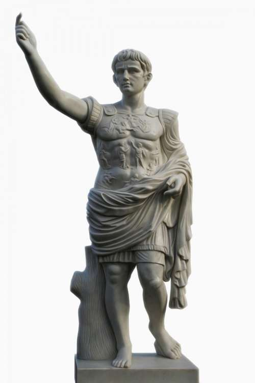 Male Roman Statue Isolated Background Detail