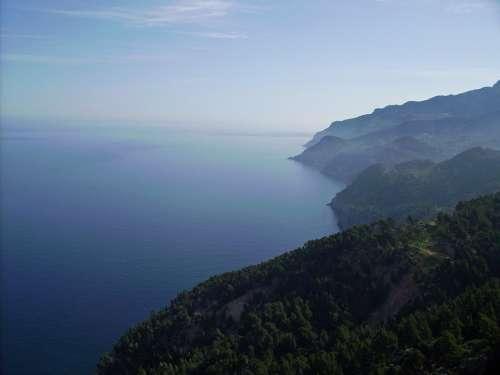 Mallorca Sea Mountains Cliffs Landscape Island