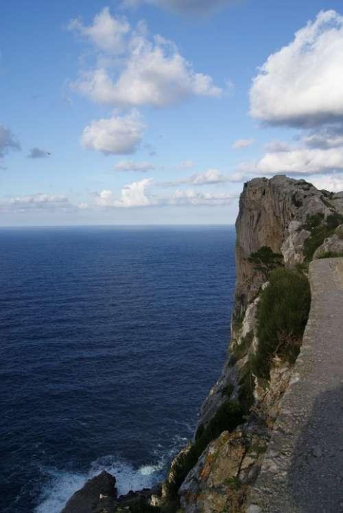 Mallorca Coast Sea Steep Slope