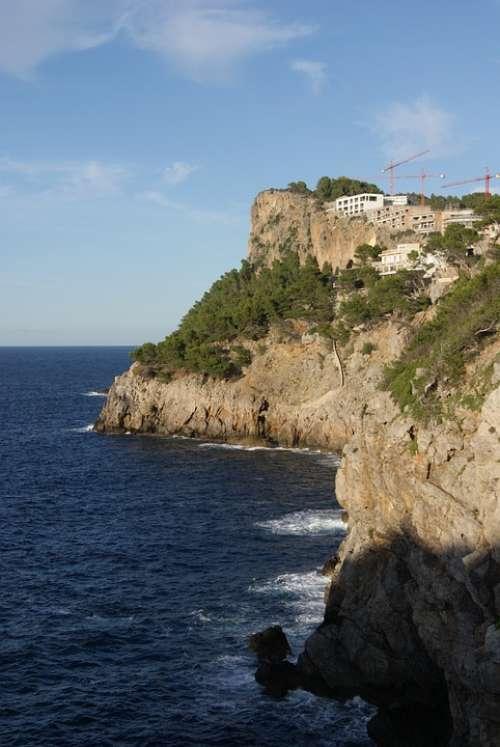 Mallorca Coast Sea Steep Slope Cliff Banyalbufar