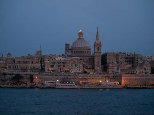 Malta Valletta Evening City