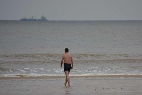 Man Swimming Trunks Sea Swimming Steps People