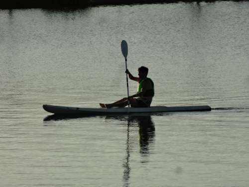 Man Kayak Lake Water Sport Kayaking Activity