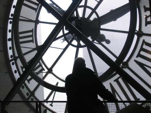 Man Watching Thinking Clock Time Museum Europe