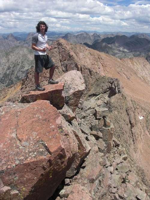 Man Mountain Walking Rocks Person Landscape