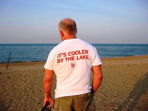 Man Old Standing Tourist Bald Lake Michigan