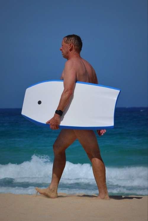 Man Surfboard Sea Ocean Sports Waves People