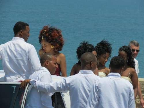 Man Woman Black White People Wedding Married