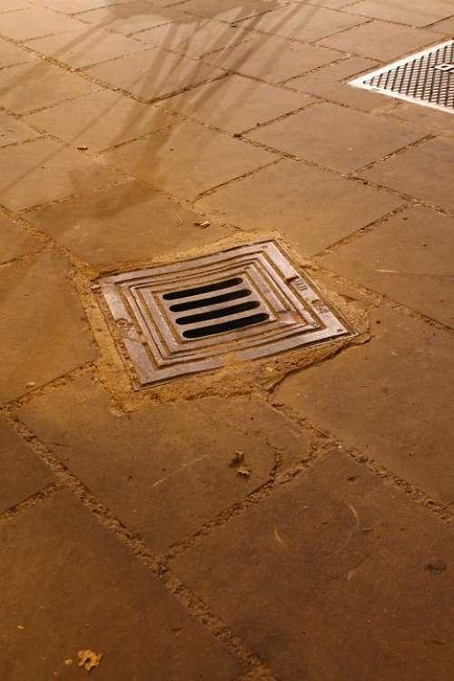 Manhole Hole Floor Via Stones Drain Road Iron