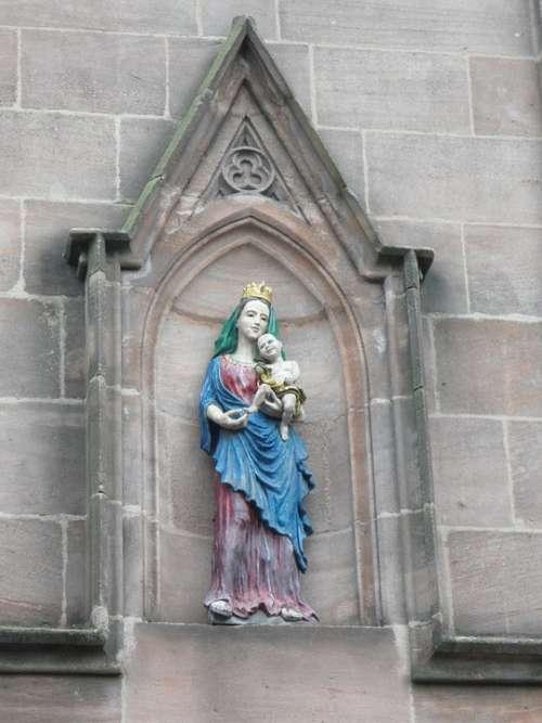 Maria Statue Jesus Child Madonna Mother Of God