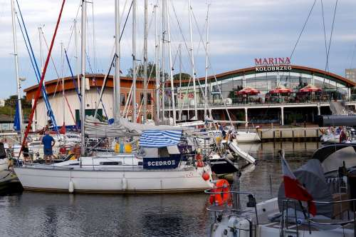 Marina Lake Water Coast Kolobrzeg Poland Ship
