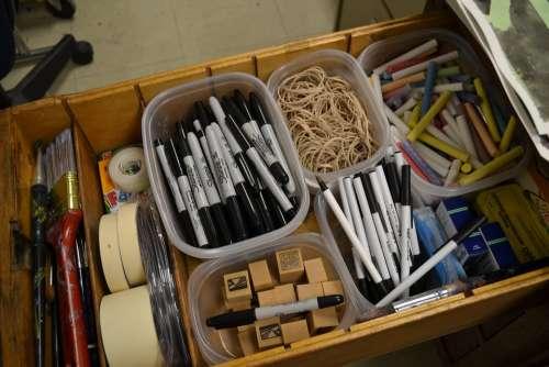 Markers Erasers Drawer Desk Art Supplies Supplies