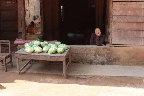 Market Women Kohl Cole Food Vegetables Asia Laos