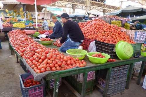 Market Bazaar Vegetables Tomatoes Food Fruit