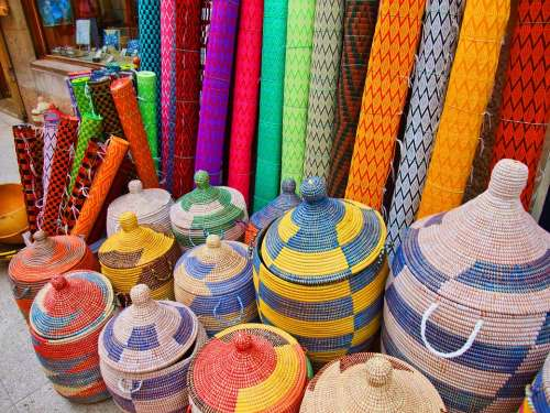 Market Baskets Matting Colorful Color Spain Weave