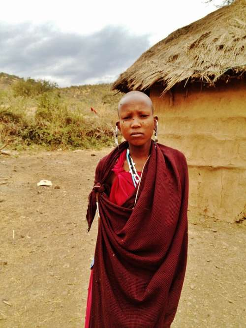Massai Girl Woman Tanzania Boma Africa Black